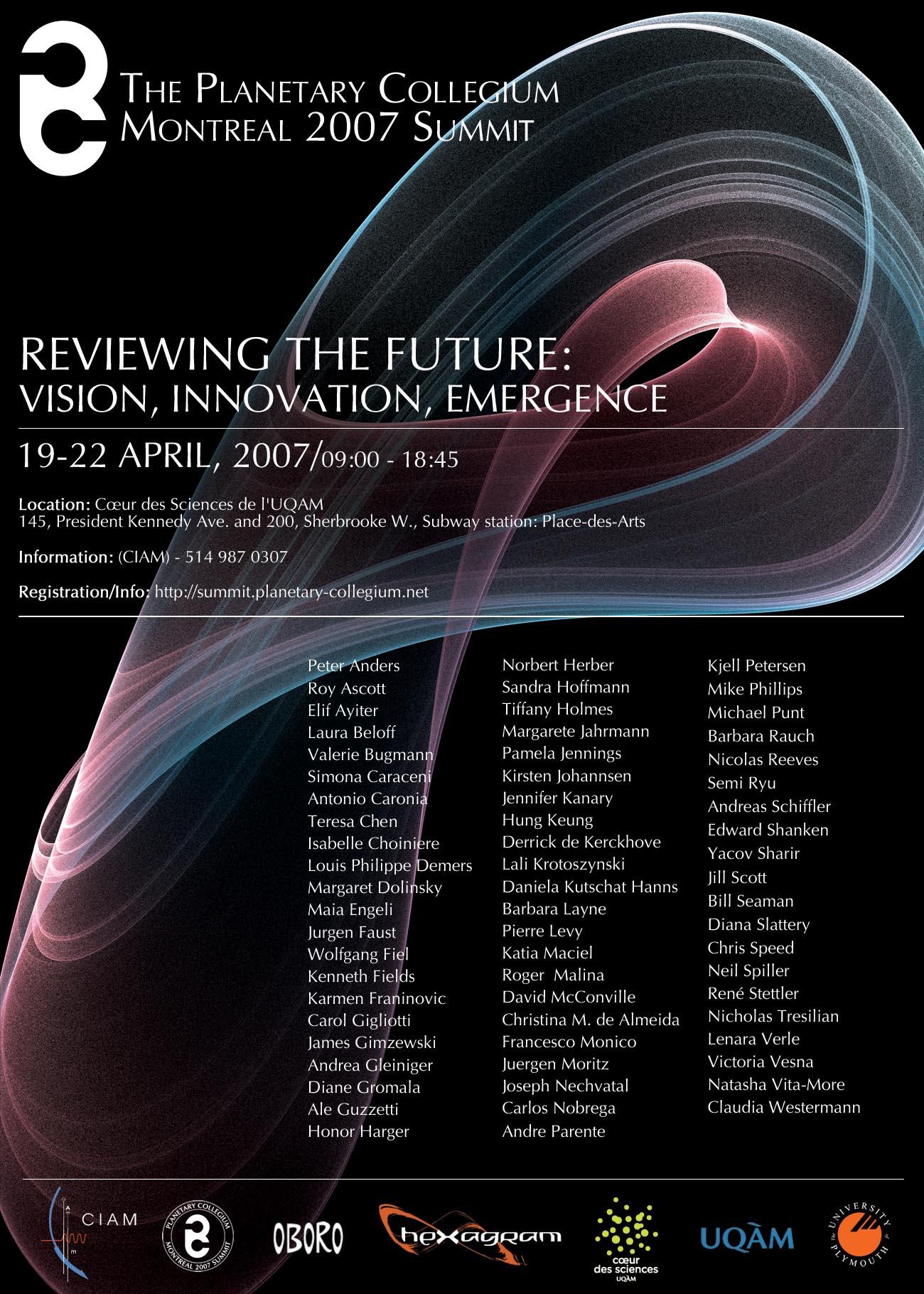 Planetary Collegium Summit - Montreal - Poster
